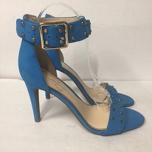 Jessica Simpson Elonna Blue Ankle Strap Heels